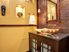 Asian Bathroom With Arced Onyx Sink