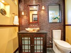 Yellow Asian Bathroom With Brown Mosaic Tile Wall