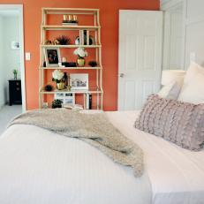 Transitional Bedroom With Coral Accent Wall