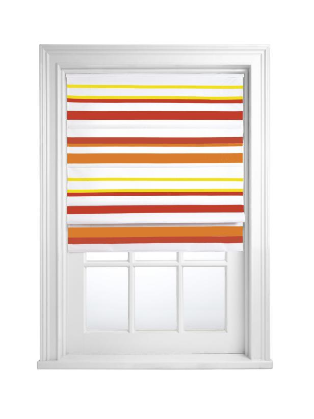 Roman Shade With Red, Orange and Yellow Stripes