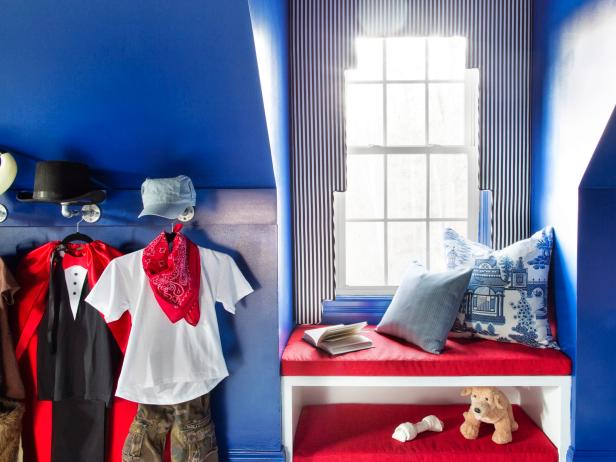 Cozy Window Seat in Boy's Blue Bedroom