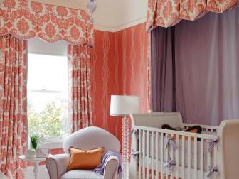 Whimsical Girl's Nursery in Coral and Purple