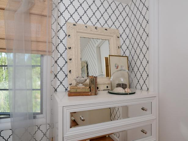 Sheer Window Treatments and Mirrored Dresser in Cottage Bedroom