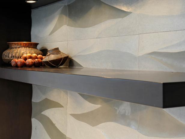 Dark Wood Open Shelving and Neutral Limestone Backsplash