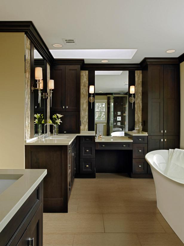 Spacious Bathroom With Wooden Cabinets and a Freestanding Tub