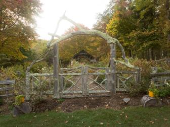 Country Inn Garden with Rustic Gateway