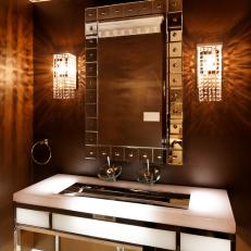 Brown Contemporary Bathroom With Glass Wall Sconces