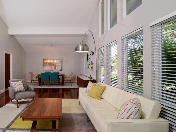 Spacious White Midcentury Modern Living Room