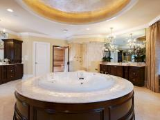 Beige Transitional Master Bathroom with Dome Ceiling