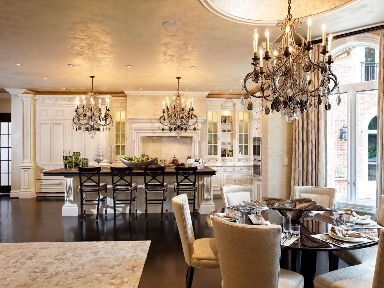 Gold Transitional Kitchen With Glamorous Chandelier Lights