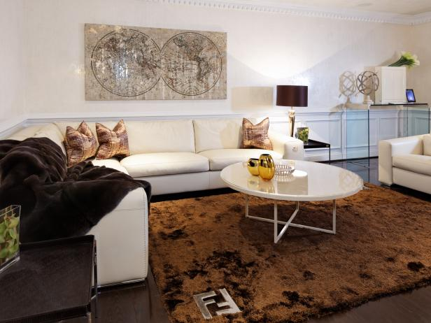 Contemporary Living Room With White Leather Sectional