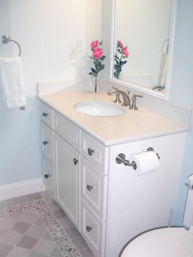 Blue Cottage-Style Bathroom With White Vanity