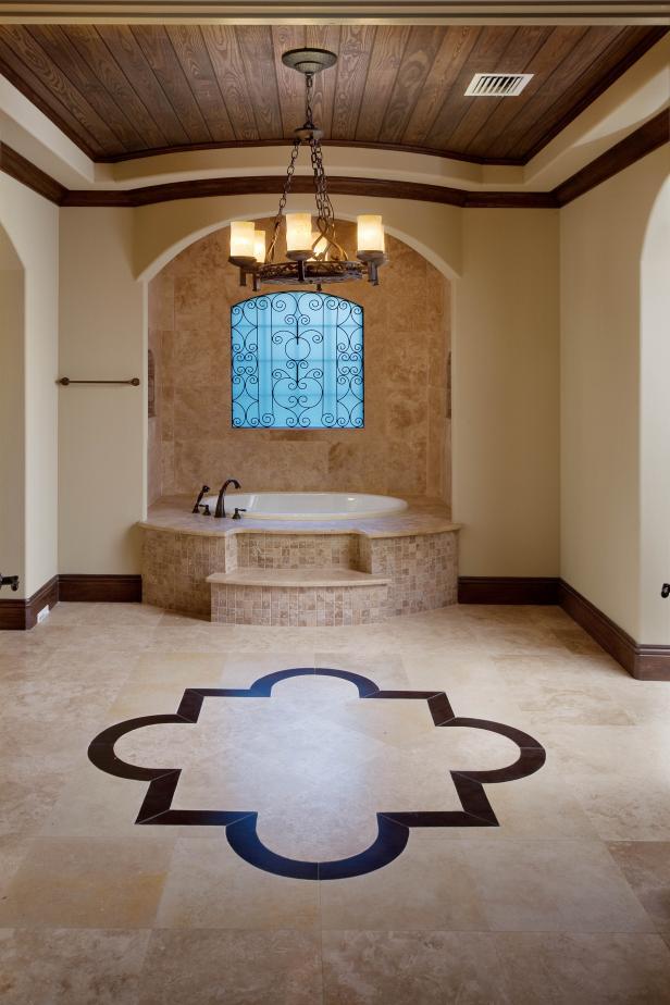 Luxurious Bathroom With Inlay Floors