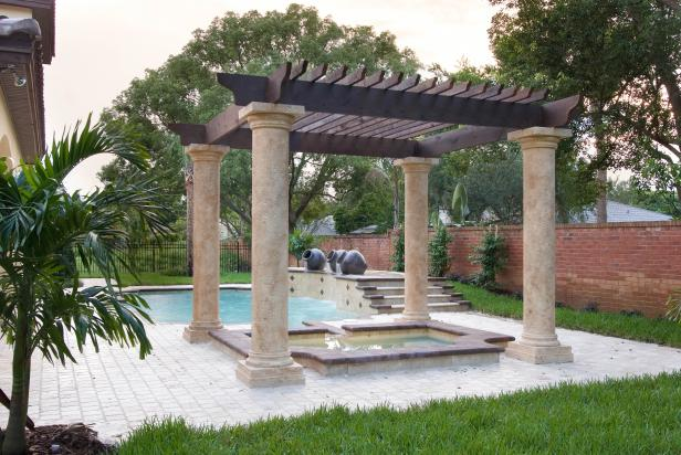 Mediterranean-Style Hardscaping and Hot Tub