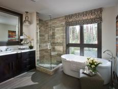 Contemporary Master Bathroom With Floor-to-Ceiling Window