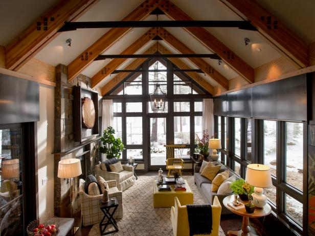 Rustic Living Room With Vaulted Ceilings