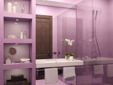 Black and white bathroom decor ideas hgtv pictures hgtv Purple and black bathroom ideas