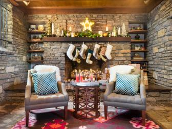 Rustic Living Room Decorated for Christmas