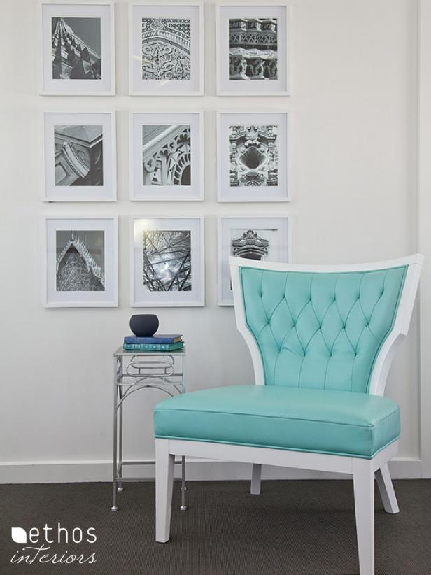 Bedroom Reading Nook With Turquoise Chair and Gallery Wall