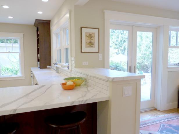 Creamy White Kitchen With Marble Countertop