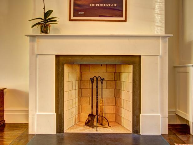 Wood-Burning Fireplace with Marble Mantel