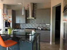 Gray Contemporary Kitchen With Glass Breakfast Bar