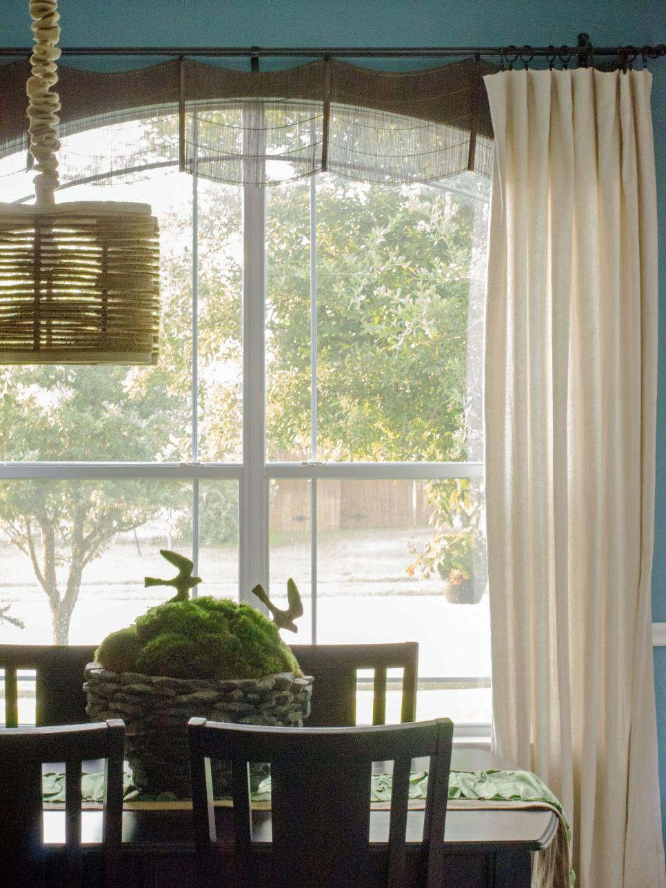 Dining room window treatments window treatments for bay for Dining room window treatments