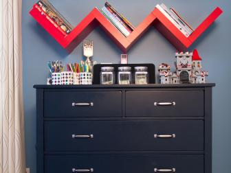 Red Shelves Bring Chevrons Into Kid's Bedroom