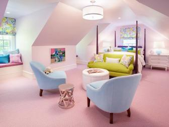Pink Contemporary Girl's Bedroom is Vibrant, Stylish