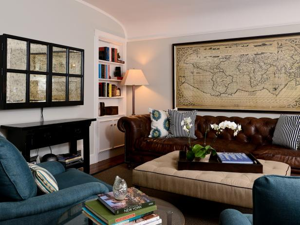 Neutral Living Room With Leather Chesterfield Sofa and Framed Map
