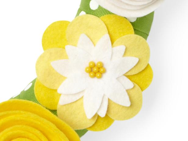 Flat Yellow and White Felt Flower