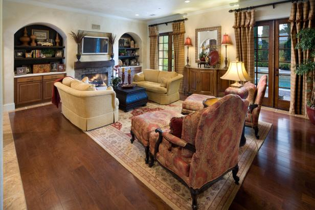 Tuscan Family Room With Hardwood Flooring