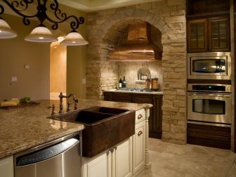Gorgeous Kitchen With Copper Farmhouse Sink