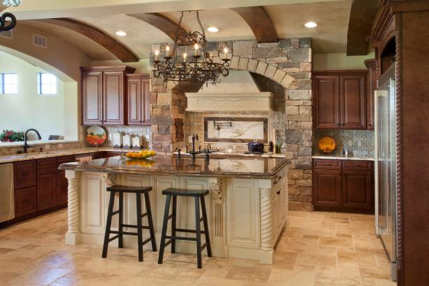 Mediterranean Kitchen With Ceiling Beams and Stone Architecture