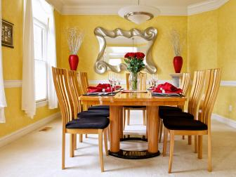 Bright Yellow Dining Room With Red Accents