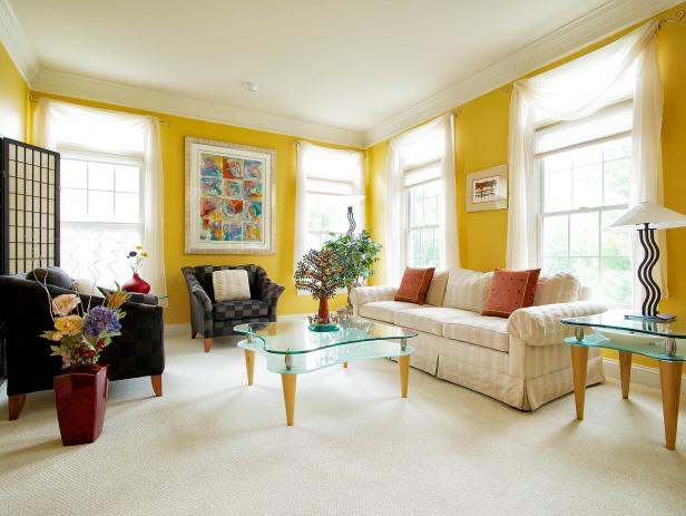 Contemporary Yellow Living Room With Mod Furnishings
