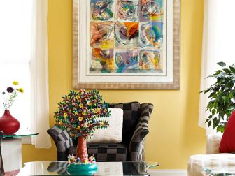 Bright Yellow Living Room with Geometric Chair