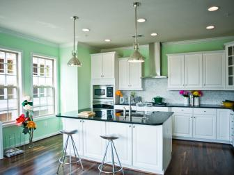Pale Green Contemporary Kitchen With Large Island