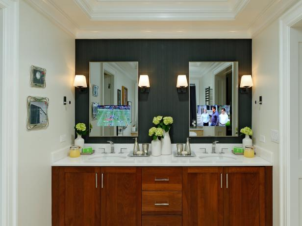 Contemporary Bathroom With TV-Integrated Mirrors and Black Accent Wall