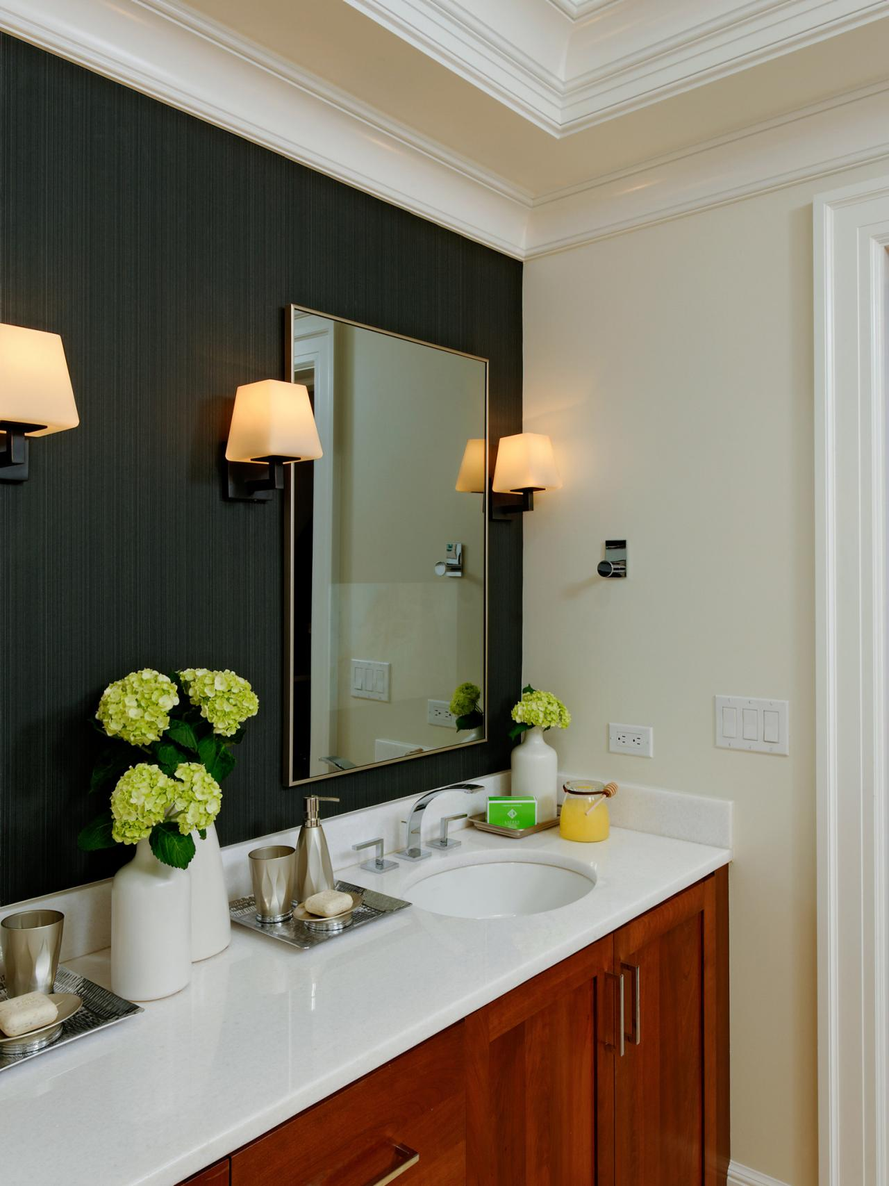 Contemporary bathroom with black accent wall hgtv for Bathroom accents