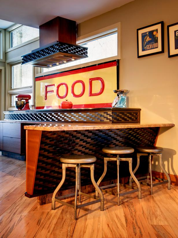 Neutral Bar With Industrial Barstools and Vintage Food Sign
