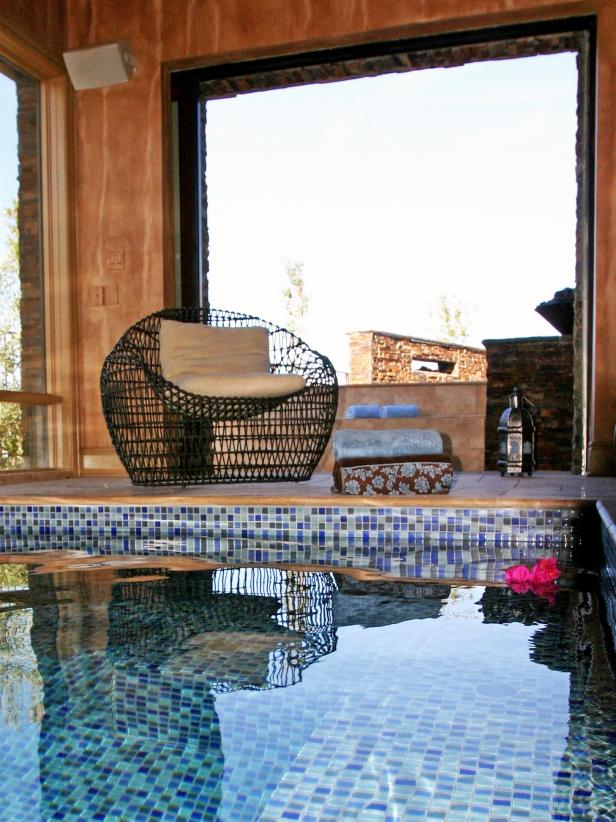 Indoor Mosaic Tiled Swimming Pool With Pocket Doors