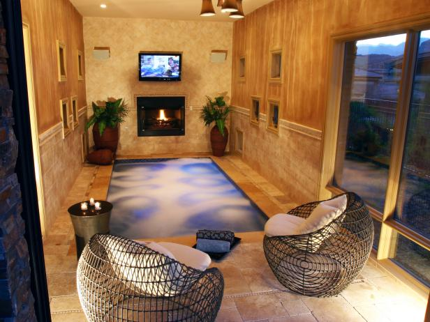 Neutral Indoor Home Spa With Fireplace