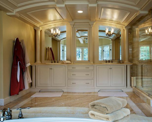 Traditional Bathroom With Custom Built-In Dual Vanities