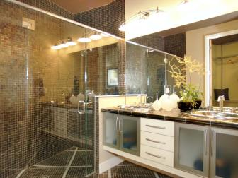 Brown Contemporary Bathroom With Tiled Shower