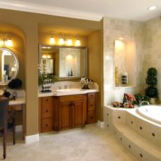 Traditional Neutral Bathroom With Large Garden Tub