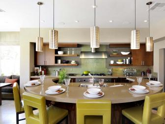 Green Contemporary Kitchen With Horseshoe Island
