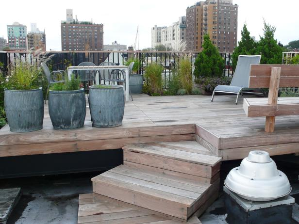 Contemporary Rooftop Wood Deck With Galvanized Steel Planters