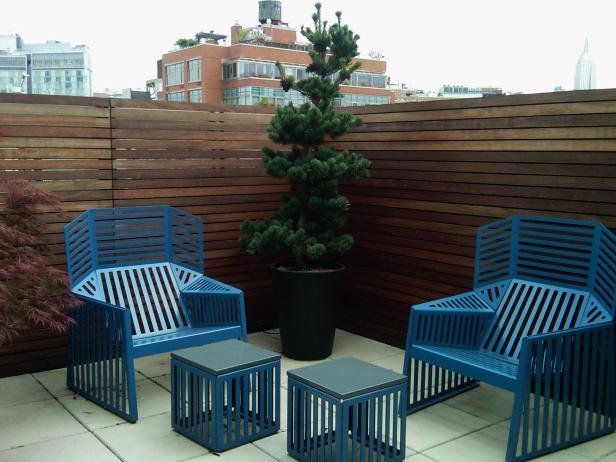 Blue Contemporary Outdoor Furniture on Rooftop Patio