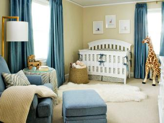 Blue and Khaki Boy's Nursery With Animal Theme
